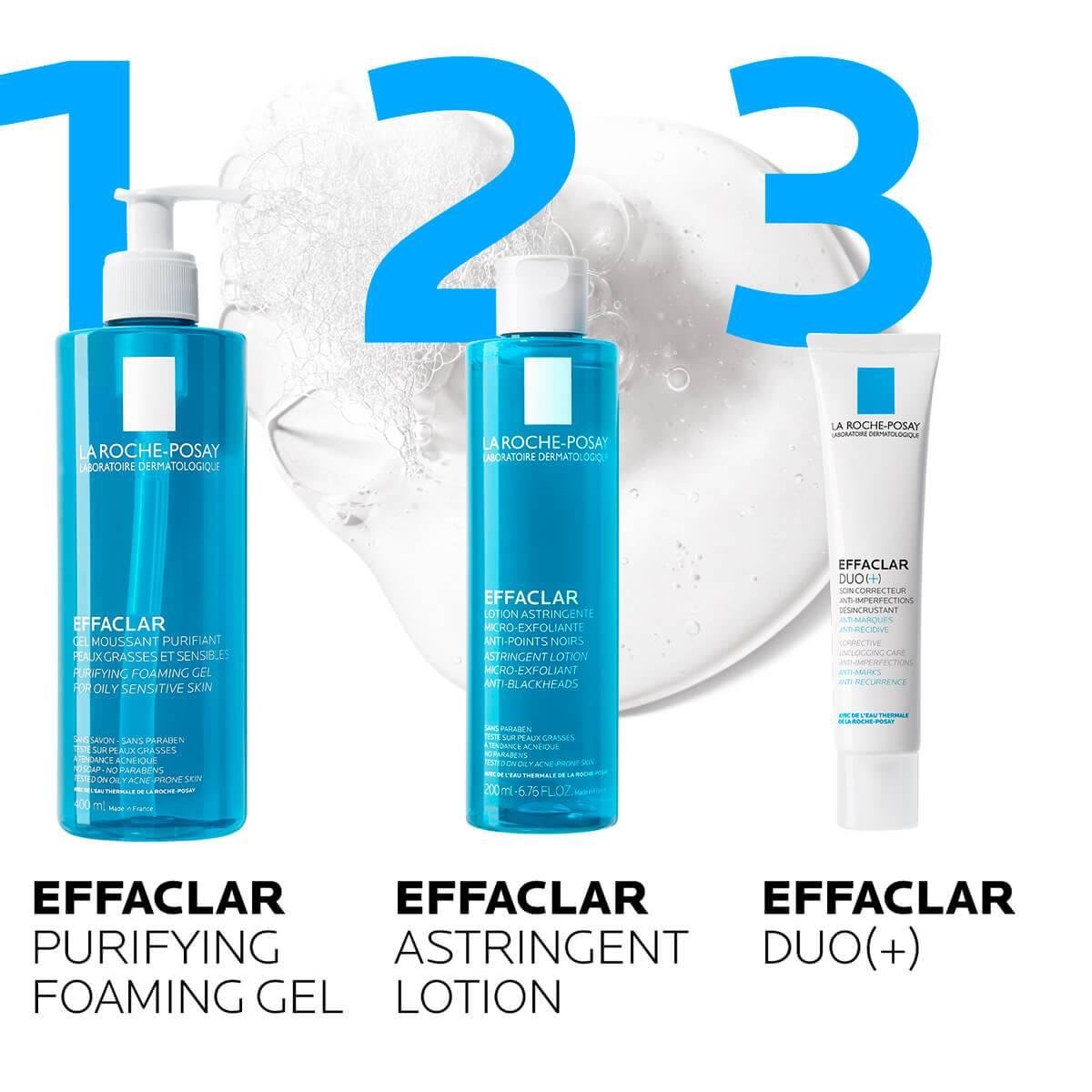 La Roche Posay ProductPage Acne Effaclar Cleansing Foaming Gel 400ml routine